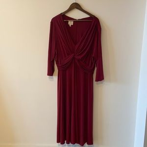 VINTAGE red long dress with draping details